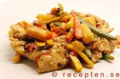 Kycklingwok - Enkelt recept på kycklinglårfilé med wokgrönsaker kryddad med…