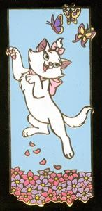 isney Auctions (P.I.N.S.) - Marie with Butterflies Pin  Marie (from The Aristocats) enjoys a carefree romp with the butterflies on this gold-finished character pin, a Disney Auctions exclusive in a limited edition of 500. Marie is shown mid jump with a pile of flowers below and 3 butterflies above her.  Size: approximately 1 inch by 2.25 inches  This Picture is courtesy of Pinpics site. Materials: hard enamel
