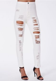 Obsessed with ripped jeans at the moment and these white high waisted ones would quickly dress-up some cosy winter boots and a casual tee. #MISSGUIDEDAW14