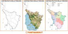 Cartina Muta, Fisica e Politica della Toscana da Stampare