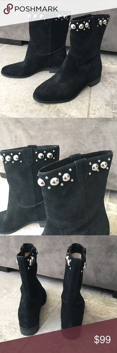 """Michael Kors Black Suede Boots With Silver Studs Sz 7 Black suede uppers with silver stud detail Pull on style 1"""" heel  Shaft measures 9"""" from arch inside boot. Circumference opening measures 12"""" MICHAEL Michael Kors Shoes Ankle Boots & Booties"""