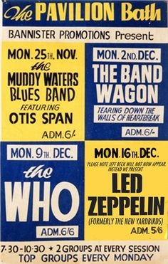 1968 concert poster - The Who, Led Zeppelin, The Muddy Waters Blues Band & The Band Wagon
