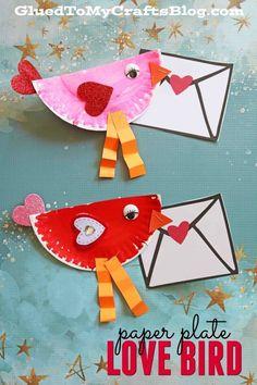 Paper Plate Valentine Love Note Bird - Kid Craft - Valentine's Day Craft w/free envelope printable included Valentine's Day Crafts For Kids, Valentine Crafts For Kids, Valentines Day Activities, Holiday Crafts, Pot Mason Diy, Mason Jar Crafts, Bottle Crafts, Creative Crafts, Fun Crafts