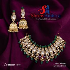 Sophisticated and alluring necklace set fashioned out of 92.5 silver and decorated with mossanites. A breathtaking invitation to explore your inner goddess from Shree Ambica - Your Trusted Jewellers. Pick this for the upcoming festive/wedding season. Readily available in stock For Price and Details Message on - +919866110500 #ShreeAmbica #TrustedJewellers #SilverJewellery #jadau #jadaujewellery #polkijewellery #indianbride #indianwedding Silver Jewellery, Wedding Season, Necklace Set, Festive, Invitation, Seasons, Jewels, Explore, Detail