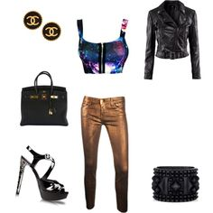Nothing classy up gold pants and a crop quite like a Birkin Bag and Chanel earrings