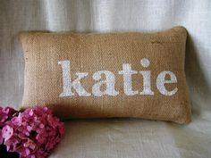 Burlap Name Pillow FREE SHIPPING- Decorative Pillow-Burlap Pillow-Wedding Gift- Bridesmaids Gift- Name Pillow- Personalized Pillow
