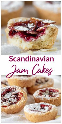 Scandinavian Raspberry Jam Cakes Crumbly and sweet, these raspberry Jam Cakes turned out to be one of the best cookies I ever made! It's like a filled shortbread baked in muffin tins. I tried them with berry jam and Nutella,… Continue Reading → Food Cakes, Cupcake Cakes, Swedish Recipes, Sweet Recipes, Norwegian Recipes, Best Cookie Recipes, Cookie Sandwich, Jam Tarts, Norwegian Food