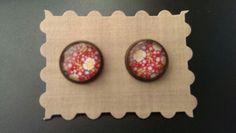 Handgemacht Cabochon Ohrringe Ohrstecker Blumenwiese rot bronze 12mm Handmade