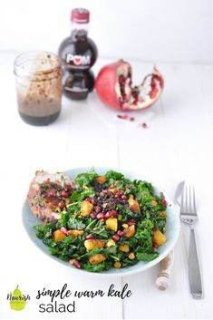 #ad Simple Warm Kale Salad with Pomegranate Balsamic Marinated Pork and Salad Dressing Recipe | this 4 ingredient pomegranate balsamic reduction is so easy, versatile, and delicious | #pomegranate #salad #healthy #thereciperedux via @nourishnutrico