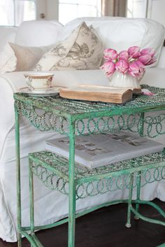 FRENCH COUNTRY COTTAGE: Vintage Patina with Pantone Emerald Green French Country Cottage, Shabby Chic Cottage, Cozy Cottage, Coastal Cottage, Cottage Style, Yellow Cottage, Romantic Cottage, Cottage Ideas, French Farmhouse