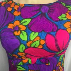 e8516b047bc78 Hawaiian Dress Purple Floral Medium Made In Hawaii Luau Tiki Party Cruise  Tia
