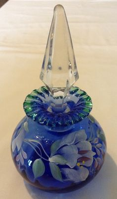 Fenton 1990'S Blue Green Crest Hand Painted Perfume Bottle With Stopper | eBay