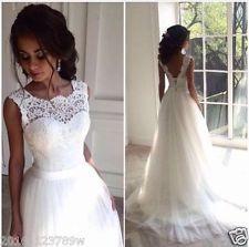 Vestido de novia Vestido de Novia nuevo Blanco/Marfil personalizado talla 6-8-10-12-14-16 18+ +++