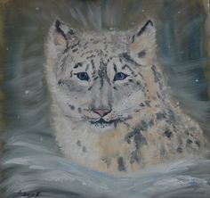 The Snow Lepard!  Oil painting!