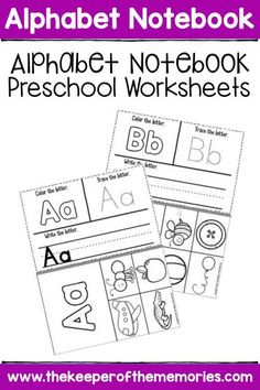 Check out this fun, interactive alphabet notebook for your little kids! These Alphabet Notebook Preschool Worksheets are no prep and feature lots of adorable clip art for preschoolers or kindergartners to create their own interactive alphabet notebook. Sensory Activities Toddlers, Letter Activities, Kids Learning Activities, Vocabulary Activities, Motor Activities, Color Worksheets For Preschool, Preschool Kindergarten, Preschool Alphabet, Alphabet Crafts
