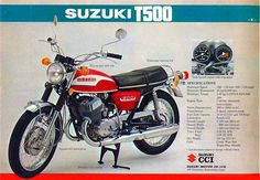 maybe his bike? Motorcycle Posters, Retro Motorcycle, Suzuki Motorcycle, Cafe Racer Motorcycle, Classic Motors, Classic Cars, Vintage Motorcycles, Cars Motorcycles, Suzuki Bikes
