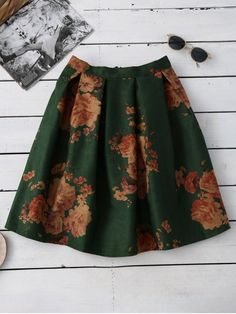 Flower Knee Length A-Line Skirt - GREEN ONE SIZE