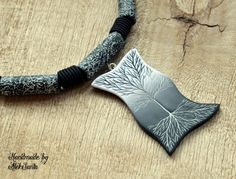 Black and white tree necklace Monochrome unusual jewelry Tree of life necklace Statement polymer clay jewelry for women Gift for her .hba by HandmadeByAleksanta on Etsy
