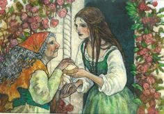 """Cinderella Helping an Old Woman"" Original artwork by Rebecca Guay available at the R. Michelson Galleries or at rmichelson.com"
