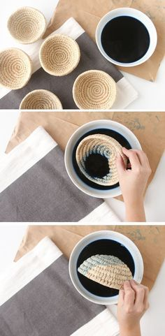 How to Make Dip Dye Woven Baskets DIY indigo baskets tutorial How to dye rope Rope Crafts, Fun Crafts, Diy And Crafts, Party Crafts, Handmade Crafts, Decor Crafts, Handmade Rugs, Basket Weaving, Woven Baskets