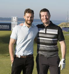Jamie Dornan and Brian O'Driscoll attending the ADL Championship Practice Round at St Andrews in Scotland on September 30th, 2015. http://everythingjamiedornan.com/gallery/index.php?cat=29