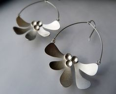 Sterling Silver Dangle Earrings Silver Statement por moiraklime