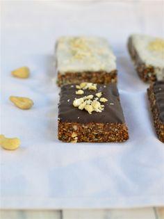 Raw Vegan Plum & Cashews Granola Bars with Coconut Butter (or chocolate) Glazing by www.sweetashoney.co.nz #raw #onthegobreakfast #veganbreakfast #refinedsugarfree #granolabars
