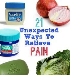 21 Unexpected Ways To Relieve Pain - Mustard for minor burns, baking soda for splinters, oatmeal for Arthritis... wow, pretty cool