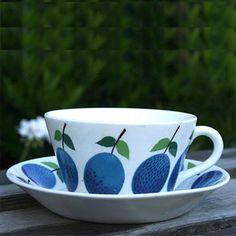 Gustavsberg Prunus Tea Cup and Saucer by Stig Lindberg : Huset Shop