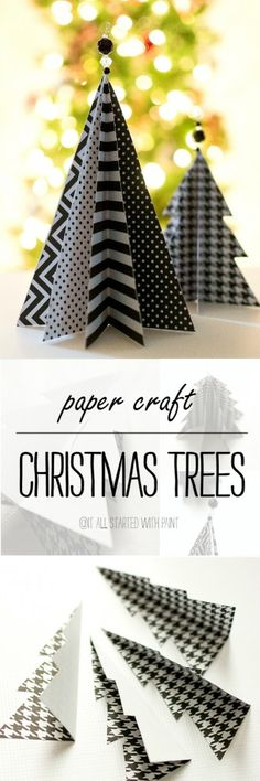 Ideas Diy Christmas Tree Decorations For Kids Paper Crafts Christmas Paper Crafts, Mini Christmas Tree, Christmas Projects, Holiday Crafts, Christmas Holidays, Kids Holidays, Fabric Christmas Trees, Origami Christmas, Homemade Christmas