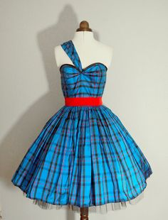 Royal Blue Tartan Dress READY TO WEAR  size small by makemeadress, £202.00