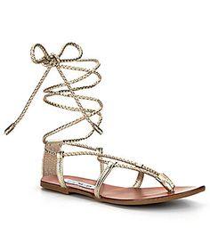 Steve Madden Werkit Braided Lace Up Flat Gladiator Sandal leather gold sz7.5 59.99 4/16