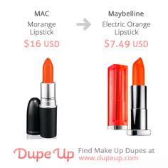 MAC Morange dupe Mac Lipstick Dupes, Mac Dupes, Orange Lipstick, Orange Makeup, Drugstore Makeup, Lip Makeup, Beauty Dupes, Beauty Hacks