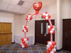 Valentine's Day With Enchanting Red And White Balloons Gate