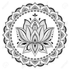 Rundmuster in Form von Mandala mit Stock-Vektorgrafik (Lizenzfrei) 763679194 - Circular pattern in form of mandala with lotus for Henna, Mehndi, tattoo, decoration. Decorative or - Estilo Mehndi, Mandala Lotus Flower, Lotus Henna, Floral Mandala Tattoo, Mandala Print, Mandala Drawing, Mandala Painting, Circular Pattern, Mandala Pattern