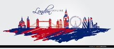 A very cool background of London city covered by red and blue paint representing the colors of United Kingdom flag. It shows the most popular landmarks like the Saint Pauls Cathedral, London Bridge, The Gherkin, The Shard, City Hall, London Eye, Big Ben, and other buildings. Use this in promos related to tourism in London. Under Commons 4.0. Attribution License.. More Free Vector Graphics, www.123freevectors.com