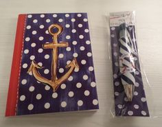 "ANCHOR JOURNAL DIARY NOTEBOOK + MATCHING ""SEAS THE DAY"" PEN NAUTICAL COASTAL NIP"
