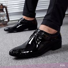 US $22 Genuine Leather Men business Shoes Derby Vintage Black Embossed Patent Leather Pointed Toe Dress Shoes Winter Mens Wedding Shoes