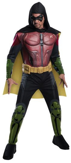 Robin - Arkham This licensed Batman Arkham Franchise Deluxe Robin adult costume includes muscled torso jumpsuit, with attached boot tops, molded belt, hooded cape and eye mask.