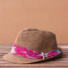 Sombreros de paja con pañuelo de seda y broche de Zamak (Talla única)