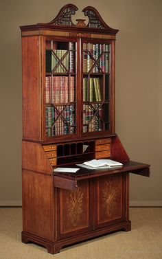 Quality Inlaid Mahogany Bureau Bookcase C.1905 - Antiques Atlas Antique Bookcase, Grand Homes, Holly Leaf, Cabinet Makers, Antique Shops, Adjustable Shelving, Antique Furniture, Liquor Cabinet, Antiques