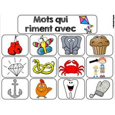 Mots qui riment (sons ette, ou, an) Kindergarten Posters, Kindergarten Activities, Read In French, Learn French, French Teacher, Teaching French, French Grammar, French Resources, Phonological Awareness