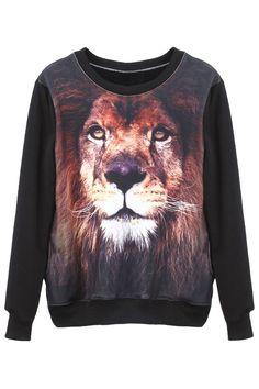 011e900a74e2 Lion Head Print Long Sleeved Black Sweatshirt