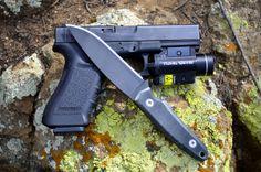 "Ardent Knives ""Kestrel"" with Graphite Black Cerakote and black Micarta handle."