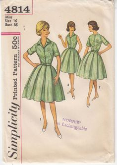 MIsses Dress 4-H Blouse Skirt 3 Versions Simplicity Sewing Pattern 4814 Sz16