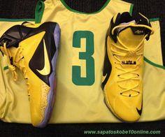 "sites de tenis Nike Lebron 12 PE Preto/Amarelo ""Oregon Patos"""