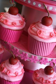 Pinkalicious Cupcakes - use real cherries dipped in sugar and set overnight to keep from dripping