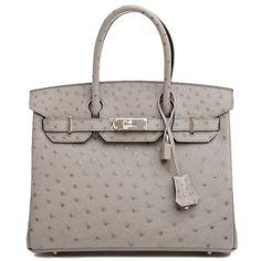 pristine (PR) Hermes Gris Tourterelle Ostrich 30cm Birkin Bag with Palladium Hardware