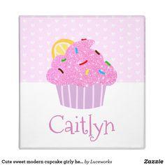 Cute sweet modern cupcake girly hearts pink school 3 ring binder