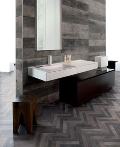 Inspired by planks found in an abandoned factory floor in Northern Italy, Florida Tile's Cellar HDP perfectly captures the rich character of vintage boards. Kitchen And Bath Design, Wood Look Tile, Shower Floor, Tile Design, Home Improvement Projects, Cellar, Hardwood Floors, Mosaic, Interior Design